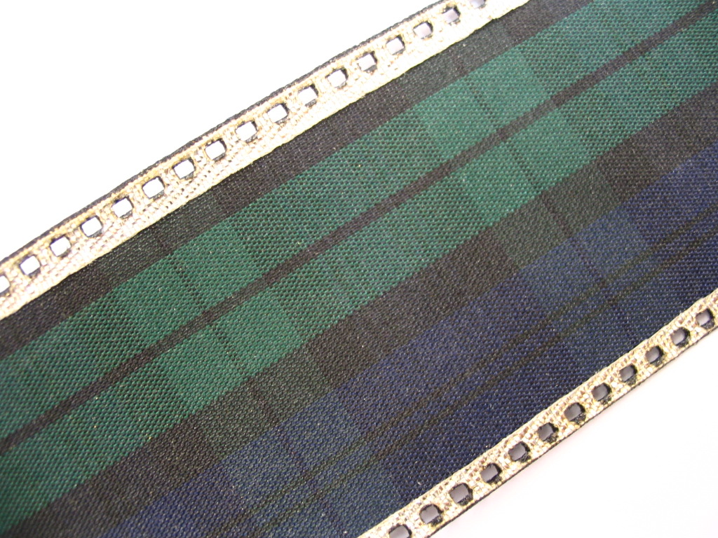 "Black Watch Gold Wire Edge Tartan Ribbon 48mm (1 7/8"") x 20m 22y"