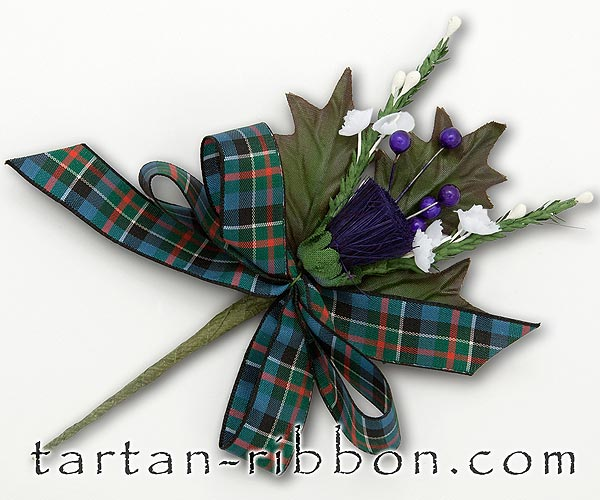 Colquhoun (Ancient) Tartan Ribbon Buttonhole / Corsage